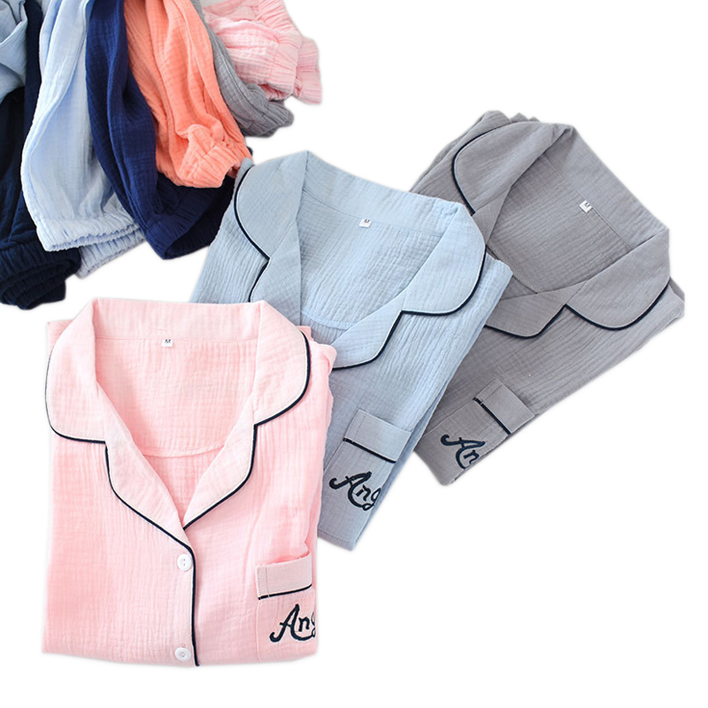 Pure Color Couples Pyjamas Crape Cotton Lovers Pajama Sets Women Spring Long Sleeve Casual Sleepwear For Male
