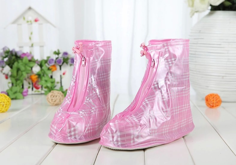 Nonskid pillowtop soles waterproof zipper rain shoe covers ...