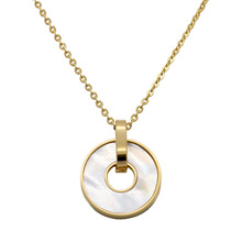 Trendy Simple Women Pendant Necklace Round White Shell Rose Gold Link Chain Stainless Steel Jewelry