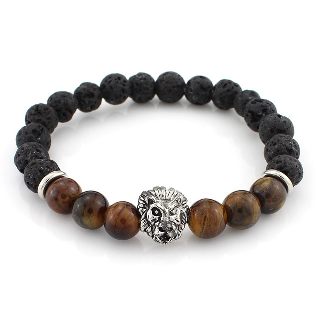 Lava Stone Bracelets With Gold Or Silver Lion & Coloured Natural Stones