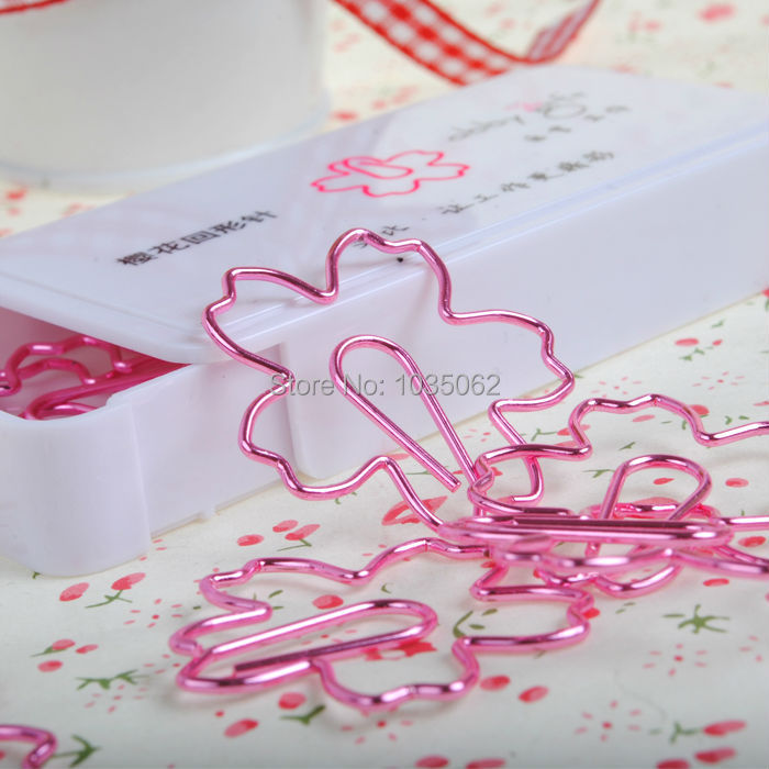 Creative Metal Stationery Pin Bookmarks Clips Cherry Shaped Red Pink, Planner Binder Clip DIY Accessories