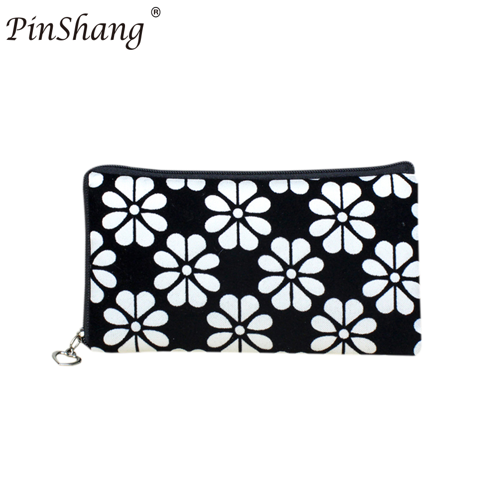 PinShang Women Floral Printing Wallet Four Leaf Clover Coins Purse Corduroy Handbag Phone Bag With Zipper Closure ZK35