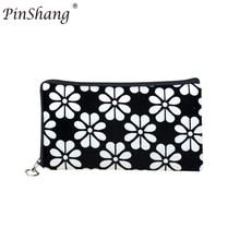 PinShang Women Floral Printing Wallet Fyra Leaf Clover Mynt Purse Corduroy Handväska Telefonväska med Dragkedja Stängning ZK35