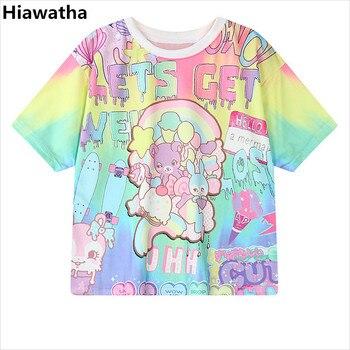 Hiawatha Kadın Harajuku Mektuplar Baskılı T-shirt Rahat Gevşek Karakter Kısa Kollu T Shirt Kız Kolej Tarzı Üstleri T2452