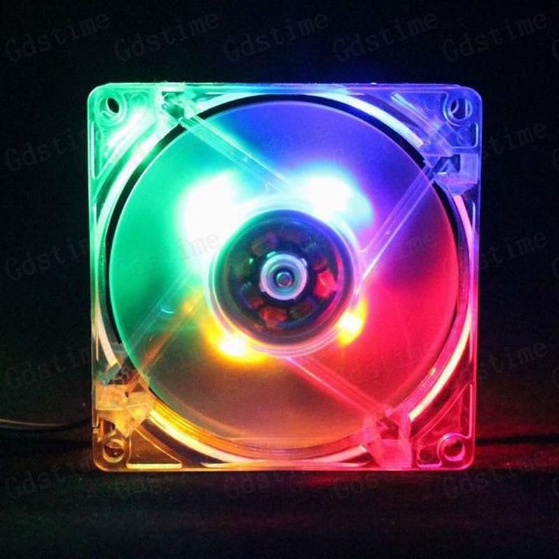 5pcs Lot Gdstime 4Pin 12 Volt  LED ColorFul Quiet Computer Case Cooling Fan 80MM 8CM 80X25MM