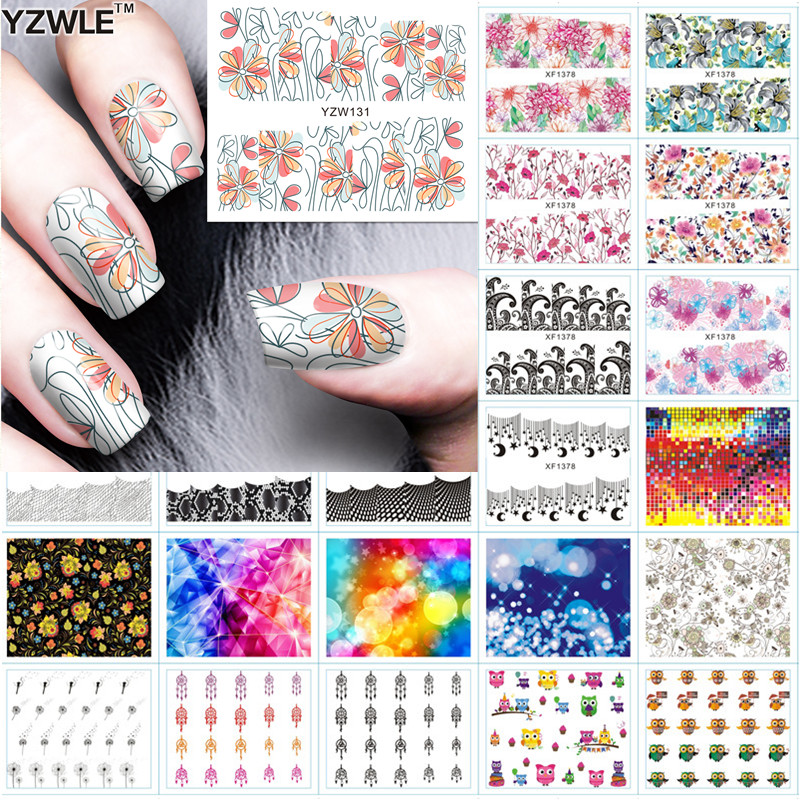 YZWLE 1 Sheet DIY Designer Water Transfer Nails Art Sticker / Nail Water Decals / Nail Sticker Accessories, 42 Styles For Choose 2016 1 sheet white color nails art sticker winter style white snowflake nail water transfer sticker fingernails decals