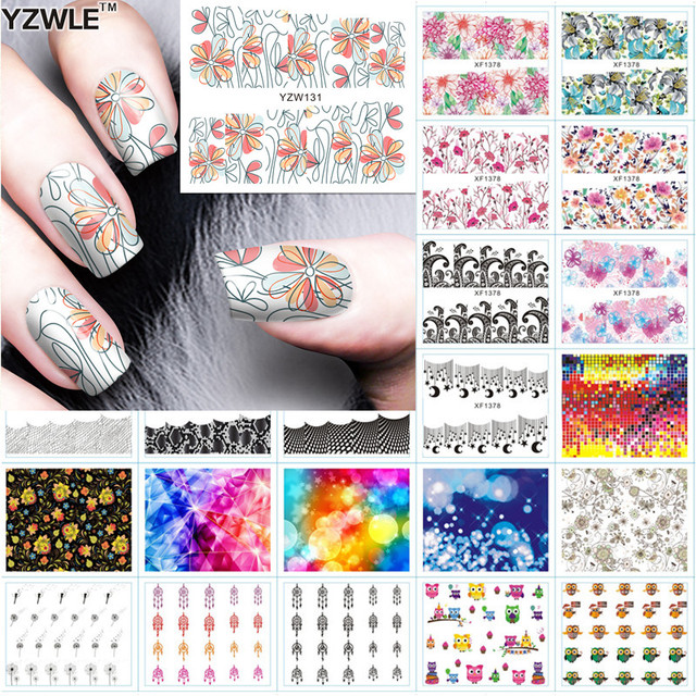 Yzwle 1 Sheet Diy Designer Water Transfer Nails Art Sticker Nail Decals