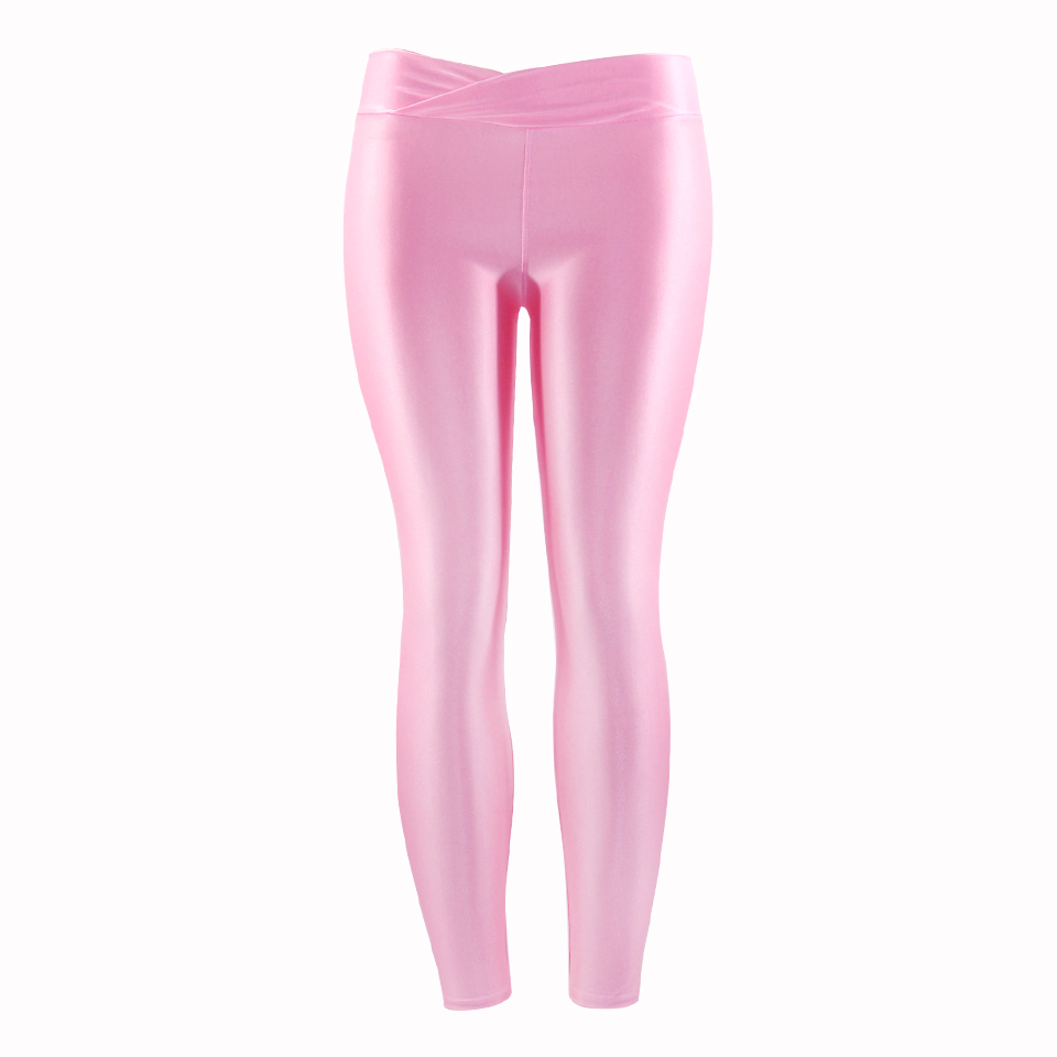 Elastic Leggings Shiny Glossy Trousers Women Plus Size Pants Knitted Fashion