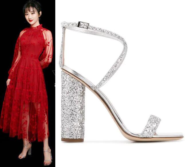 Carole Levy Bling Bling Glitter Embellished High Heel Sandal Sexy Open Toe Cross-tied Thick Heels Shoes Woman Wedding Heels