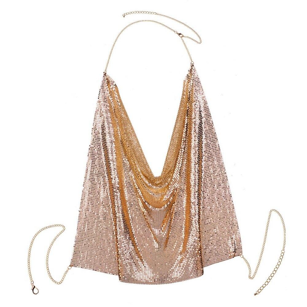 BK New Fashion Jewelry Gold Chain Shiny Body Sexy Hot Statement Bib Necklace