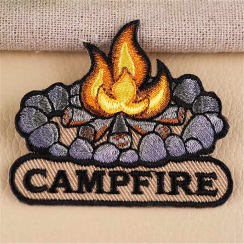 Clothing diy embroidery iron on patch deal with it CAMPFIRE badge biker patches for clothes cute stickers fabric free shipping