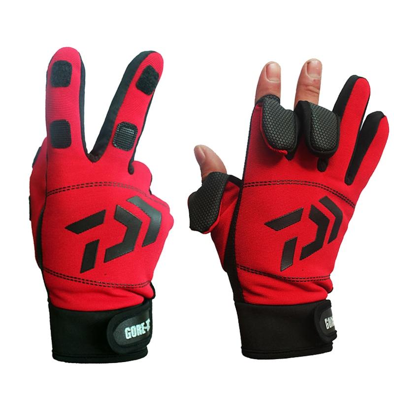 Daiwa 3 dedos cortados al aire libre senderismo deporte guantes invierno cálido guantes de la pesca de algodón a prueba de agua Anti-slip Durable guante de pesca