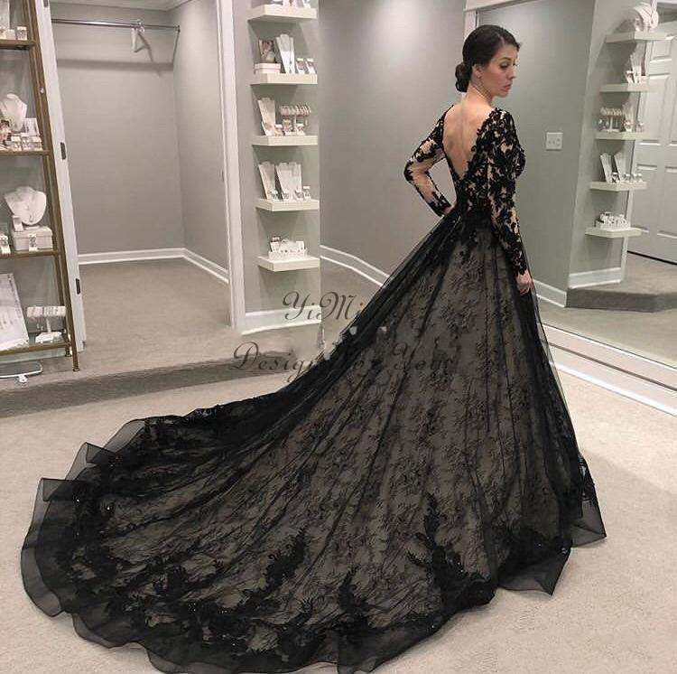 Black Wedding Dresses 2019 Long Sleeve V Neck Backless Sweep Train Lace Illusion Bodice Garden Country Chapel Bridal Gown