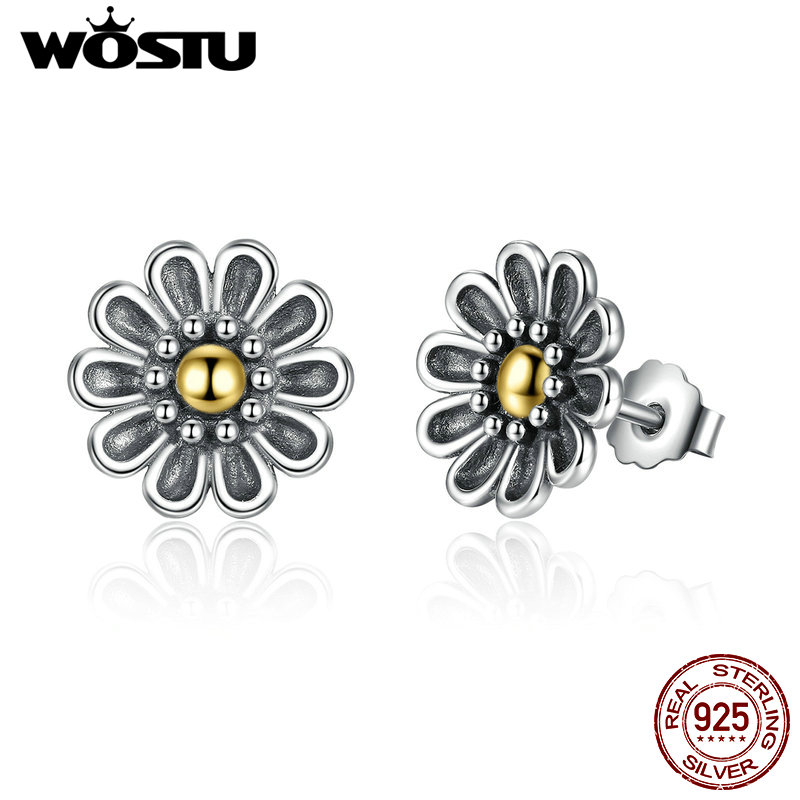 100% Authentic 925 Sterling Silver Chrysanthemum Flower Stud Earrings For Women Compatible with Jewelry Original Gift XCHS455
