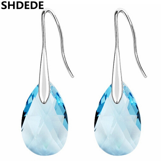 Shdede Fashion Jewelry Pear Shape Earrings Blue Crystal From Swarovski Long Pendant Water Drop Dangle Earring