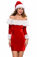 Sweetie Adult Christmas Carnival Santa Sweetie Adult Costume Red Sexy Slash Neck Long Sleeve Bodycon Dress