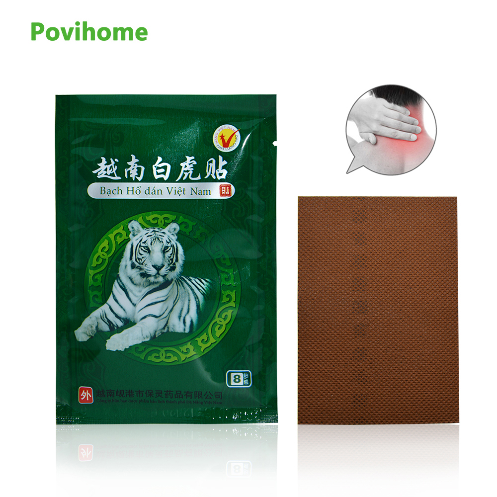 8Pcs Vietnam White Tiger Balm Muscle Neck Medical Plaster Rheumatism Arthritis Joint Pain Relief Capsicum Patch C053