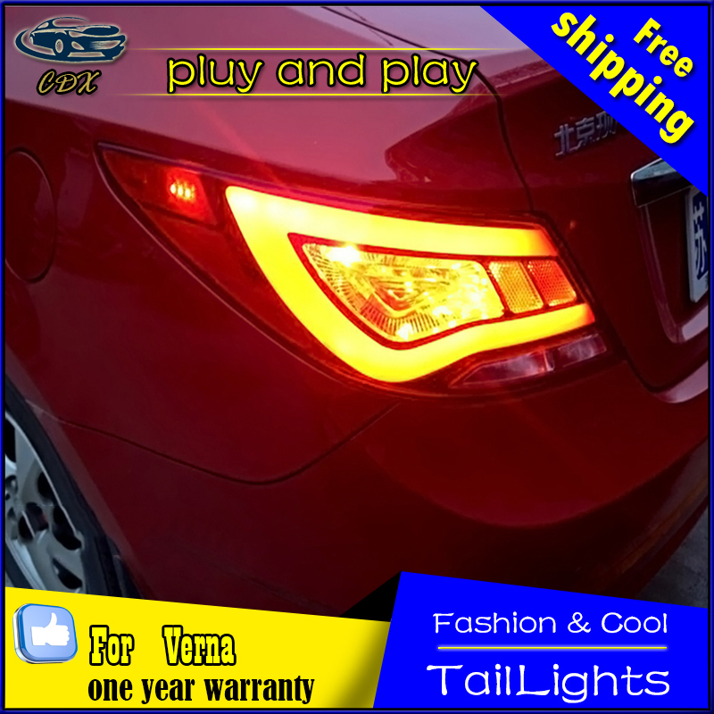 Car Styling Tail Lamp for Hyundai Solaris Tail Lights 2011-2015 Verna LED Tail Light Rear Lamp Accent DRL+Brake+Park Stop Lamp akd car styling for hyundai accent led tail lights 2011 2013 solaris tail light verna rear lamp drl brake park signal