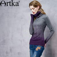 Artka Women S Comfortable Vintage Double Layer Sweater Gradient Sweater Heap Turtleneck Sweater Basic Female Pullover