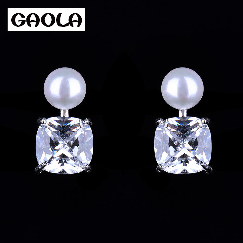 2015 New launched dangler pearl design silver plated pearl earring GLE4817
