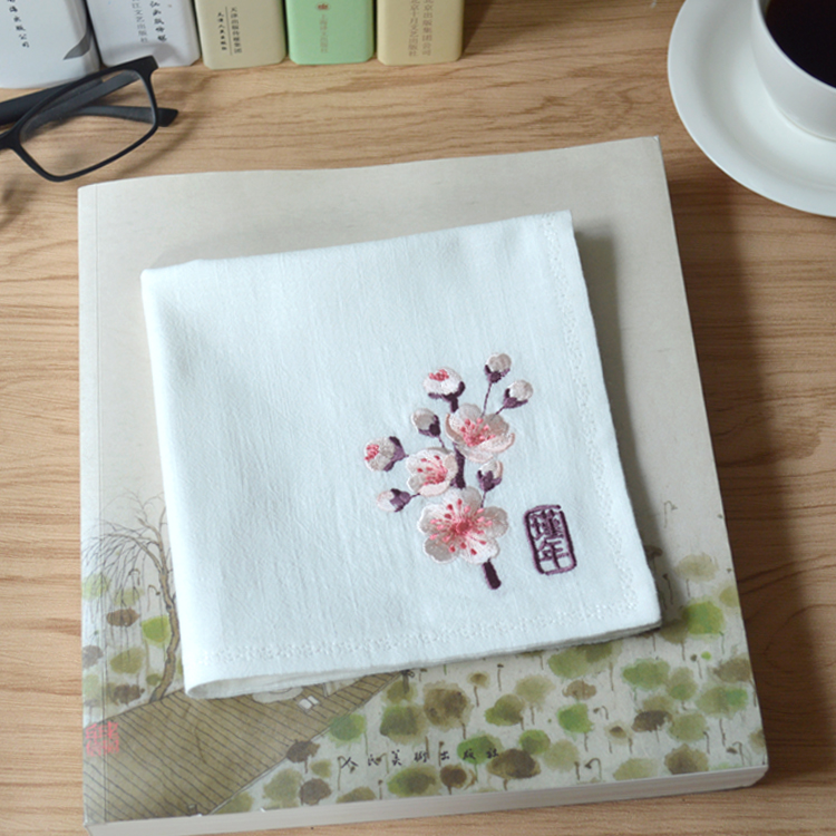 Flower Opening Year Cotton And Linen Embroidery Flower Lady Literary Retro Wind Embroidery Fashion Handkerchief Wedding Gift