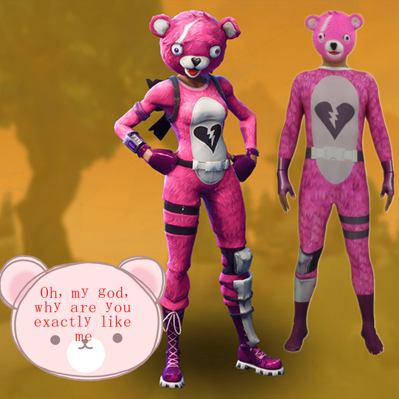ZSQH Team Leader Pink Bear Jumpsuit Game Battle Royale Cosplay Costume Halloween Costume for women men