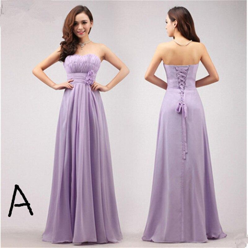 Short Sleeve Lace Wedding Dresses 2016 Chiffon Simple: 2016 New Violet Chiffon Lace Up Long Bridesmaid Dresses