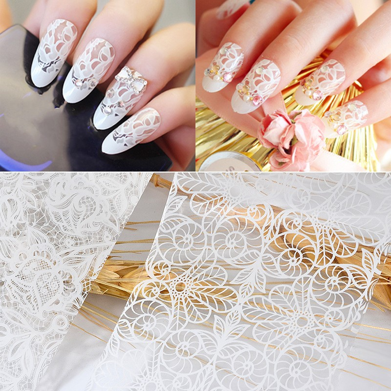 10Pcs 20cmx4cm New 2019 White Lace Transfer Foils Nail Art Sexy Full Wraps Flower For Gel Polish 3D Nails Decorations Decals