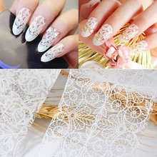цена на 10Pcs 20cmx4cm New 2019 White Lace Transfer Foils Nail Art Sexy Full Wraps Flower For Gel Polish 3D Nails Art Decorations Decals
