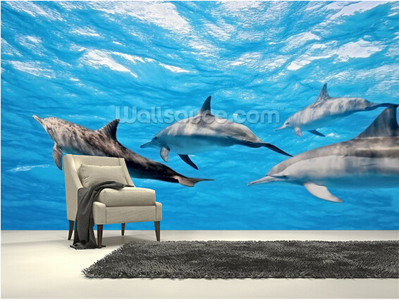 Popular dolphin wallpapers buy cheap dolphin wallpapers for Dolphin mural wallpaper