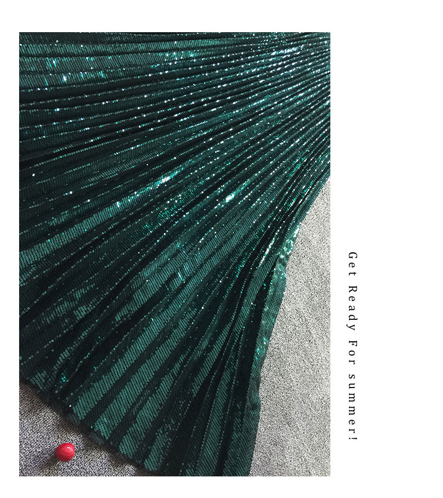 2019 New Women Shiny Sequin Tulle Pleated Skirt Ankle Length Vintage High Waist A Line Dark Green Skirts Female Fashion Jupe in Skirts from Women 39 s Clothing