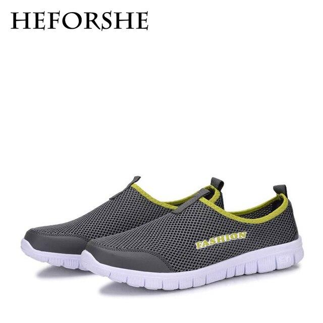 HEFORSHE Мужчины Повседневная Обувь 2017 Новый мужской Моды Твердые Дышащий Ленивый Обувь Мужчины Плюс Размер 39-46 Slip-на Сетевые Обувь MXR042