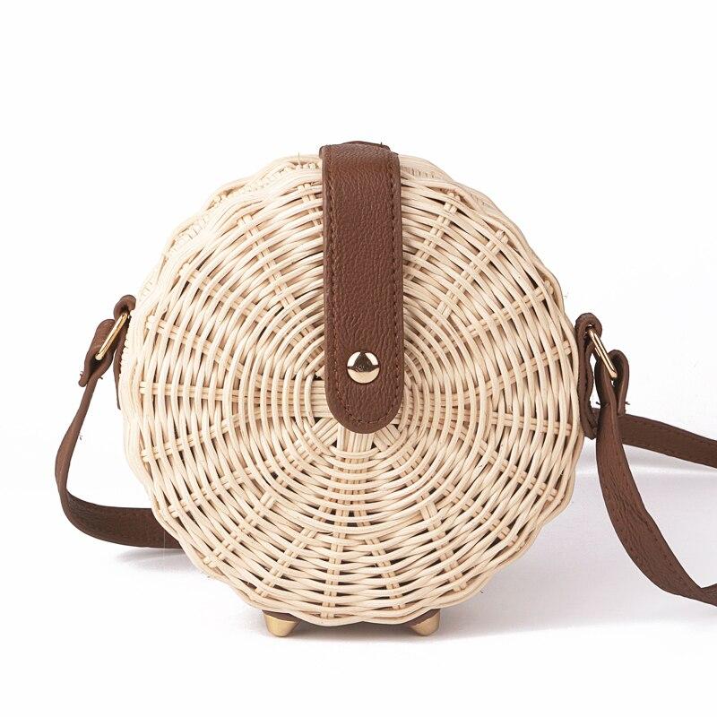 2018 frauen Stroh Tasche Böhmischen Bali Rattan Strand Handtasche Kleinen Kreis Dame Vintage Crossbody Handgemachte Kintted Umhängetaschen