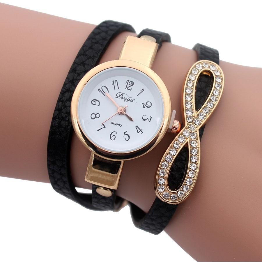 Duoya Fashion Women Quartz Bracelet Watch Luxury Infinity Leather Wrap Casual Wristwatches