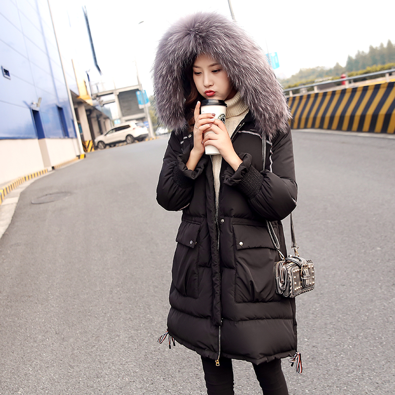 Black Green 2018 New Winter Women's Gray Duck Down Jacket Skinnwille   Parka   Womens Doudoune Femme Ultra Light Woman Hood Fur Long