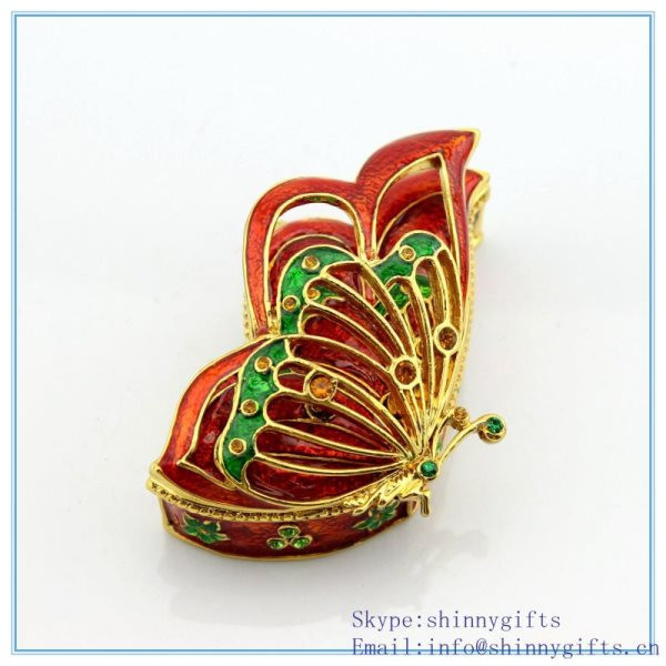 Enamel souvenir jewelry box with butterfly shape custom jewelry