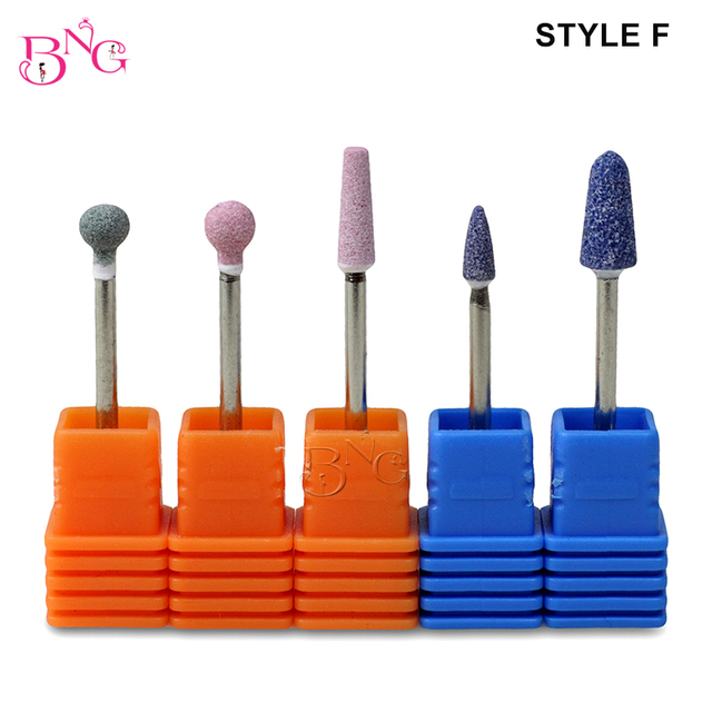 BNG 5ps set Carbide Nail Drill Bit Rotate Burr Cuticle Clean For Electric Machine Manicure Pedicure Tip Diamond Stone Naill File 5