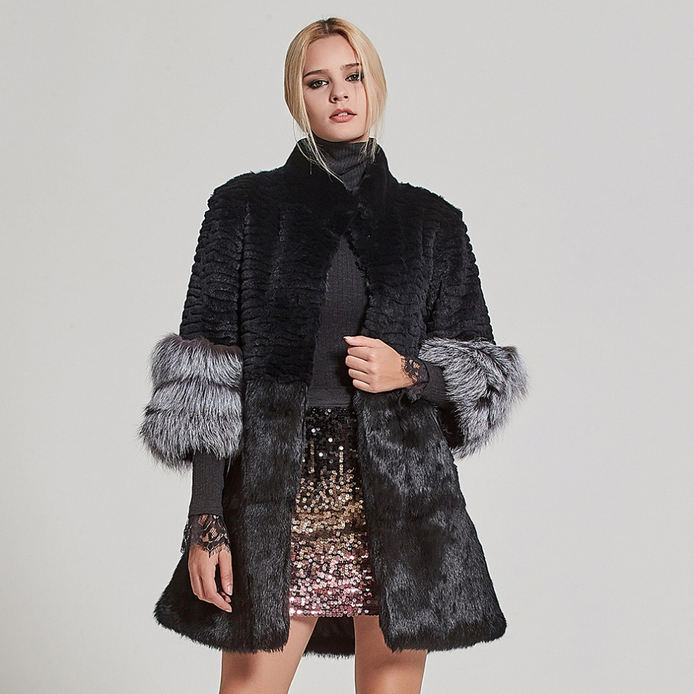 Fur Story Women s Real Fur Coat Rabbit Fur Jacket with Fox Fur Cuff Winter Thick