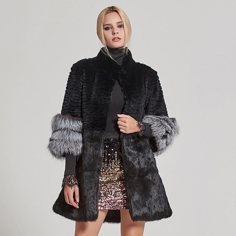 Abrigo de piel auténtica para mujer, abrigo de piel de conejo, chaqueta de piel de zorro, abrigo grueso de invierno 17160-in piel real from Ropa de mujer    1