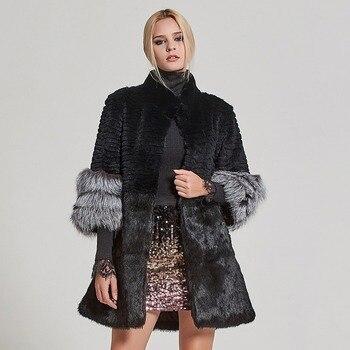 цена Fur Story Women's Real Fur Coat Rabbit Fur Jacket with Fox Fur Cuff Winter Thick Warm Overcoat 17160 онлайн в 2017 году