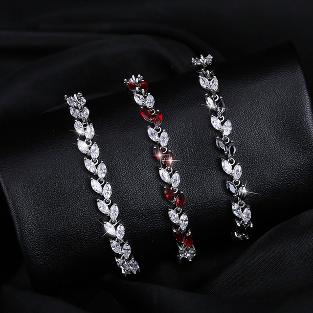 New Trendy 2020 Cubic Zirconia Leaf Charm  Bracelets Bangles for Women Jewelry Silver Color  CZ Crystal Female 4