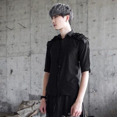 T-shirt Punk noir pour hommes t-shirts en coton noir épaules en plumes hauts vêtements pour hommes