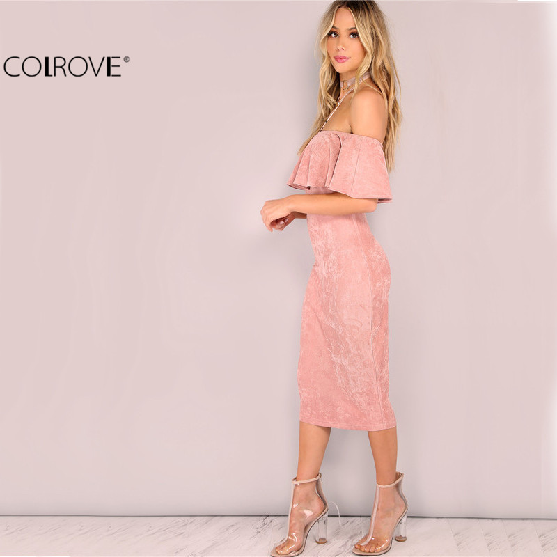 064a8011680 Image COLROVE Woman Party dresses Elegant Evening Sexy Club Dresses New  Arrival Pink Faux Suede Off