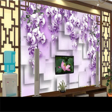 Custom mural living room 3D purple flower rattan TV background wall decoration painting wallpaper mural photo wallpaper цена
