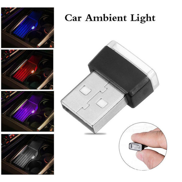 Portable Mini USB LED Car Ambient Light Dropshipping Multifunction Auto Interior Neon Light 7 Colors Optional