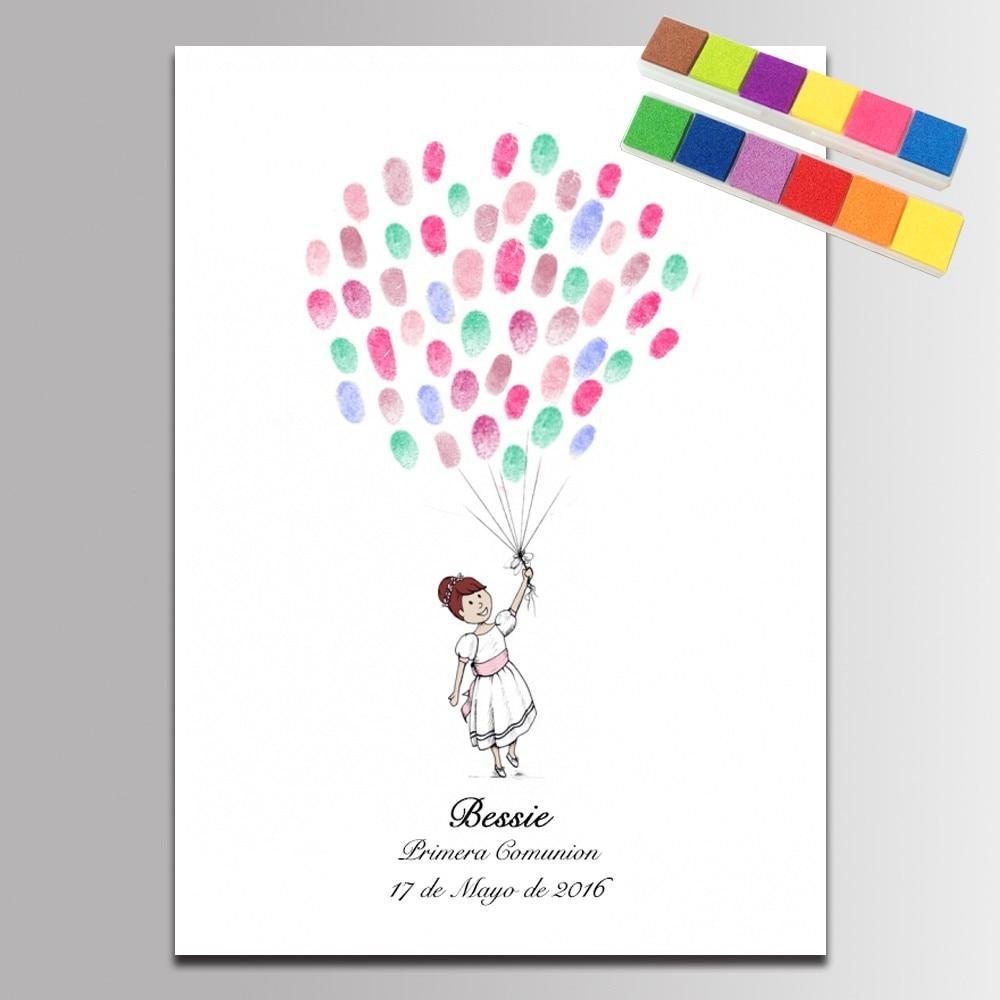 Baby Girl With Ballons Fingerprint Baby Shower Comunion