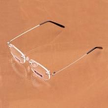 Women Men Ultra Light Spring Leg Glasses Frameless Resin Asp