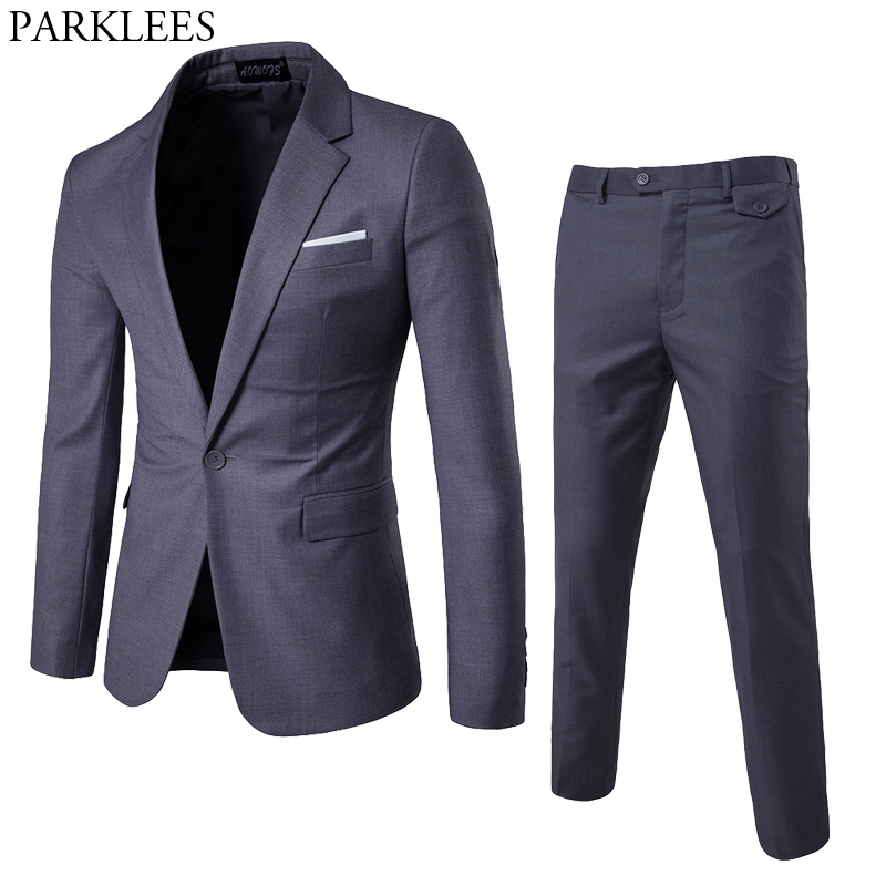 Mens Solid color 2pcs Suit Double breasted Suit With Pants Men Stage Singer Party Prom Costume