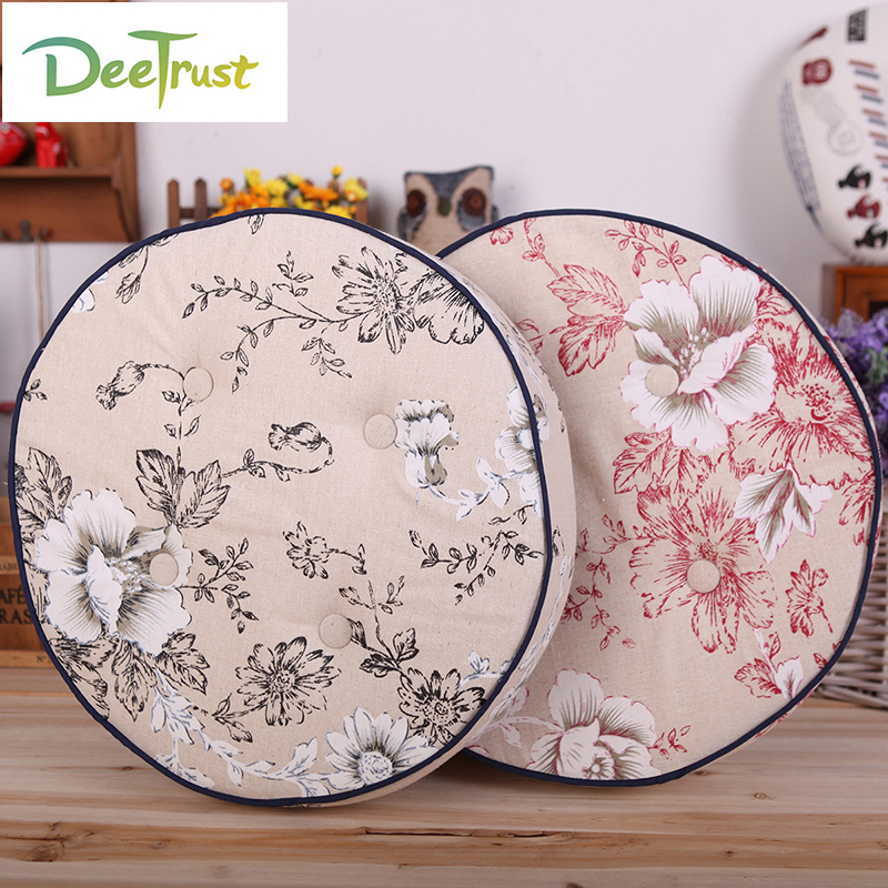 Order 1 Piece Pastral Flower Cotton Linen Cute Pillow Round Seat Cushion Thick Balcony Window Plant Pillow Tatami Washable
