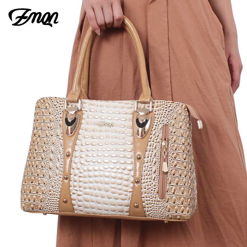 ZMQN Famous Brand Women Handbags Ladies Hand Bags Luxury Handbags Women Bags Designer 2019 Crocodile Leather Bags For Women C804-in Top-Handle Bags from Luggage & Bags